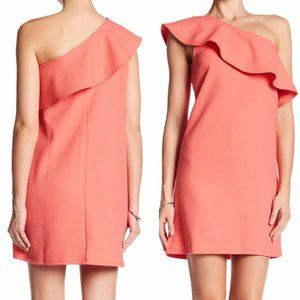 NEW ANTHROPOLOGIE One Shoulder Ruffle Dress Coral